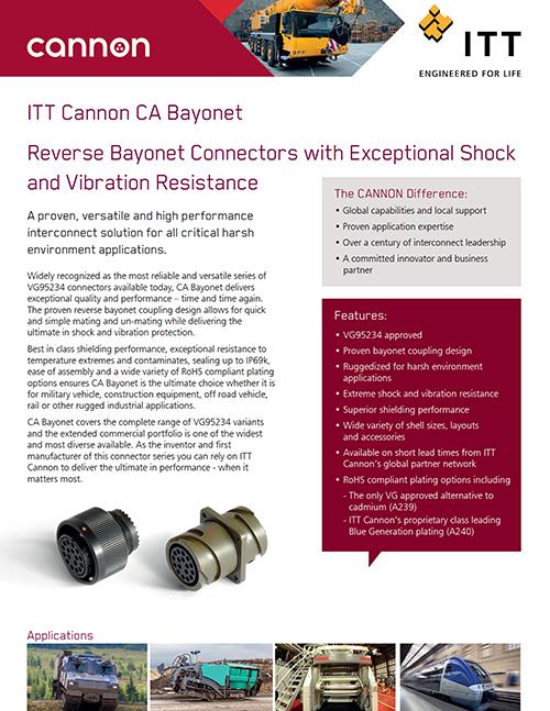 ITT Cannon - Bayonet Sell Sheet